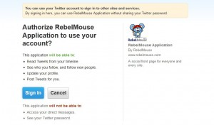 Rebell Mouse Twitter Authorisierung