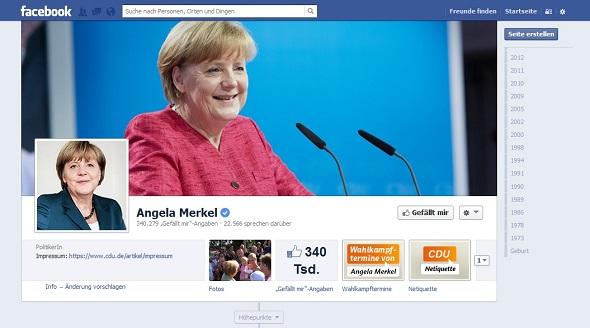 340.000 Fans: Die Facebook-Seite zu Angela Merkel.