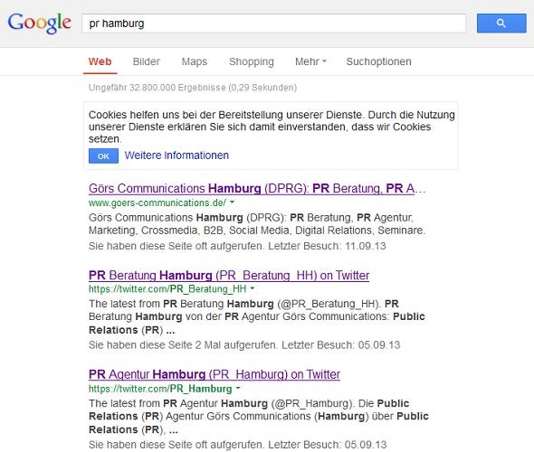 Google-Suchergebnisse zu den Suchbegriffen PR Hamburg
