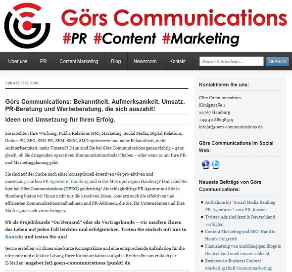 Im Fokus unserer Agenturseite steht unzweifelhaft PR und Content Marketing.