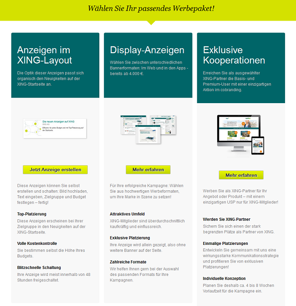 """Werbung auf XING: """"Anzeigen im XING-Layout"""", """"Display-Anzeigen"""" und """"Exklusive Kooperationen""""."""