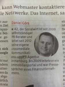 Daniel Görs leitet seit 2012 seine eigene crossmediale Kommunikations- und PR-Agentur in Hamburg