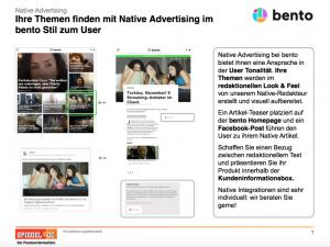"""Native Advertising auf der SPIEGEL-ONLINE-Tochter """"bento"""""""